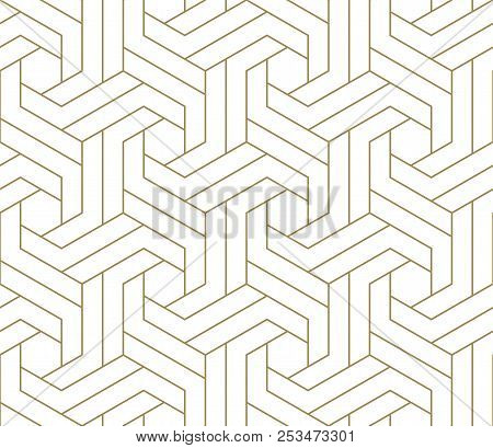 Modern Simple Geometric Vector Seamless Pattern With Gold Line Texture On White Background. Light Ab