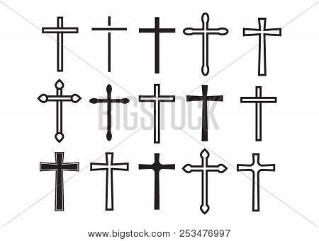 Cross Christian. Christian Cross Icons. Line Black Christian Cross