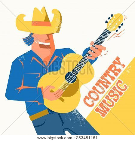 Country Music Concert Poster With Singer Man In Cowboy Hat Palying The Guitar