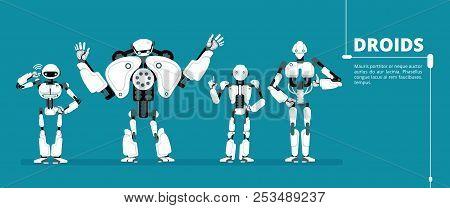Cartoon Robot Android, Cyborg Group. Artificial Intelligence Vector Futuristic Background. Ai Roboti