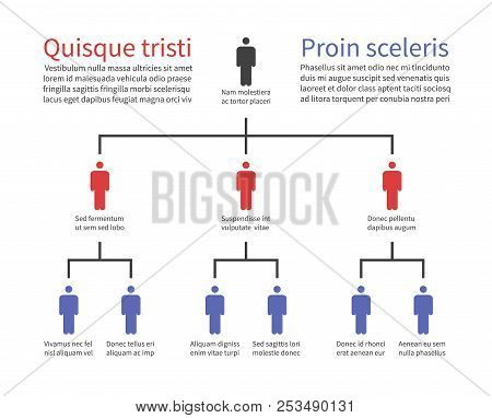 Pyramid Hierarchy Chart, Business Organization Structure With People Icons. Flow Chart Tree Vector I