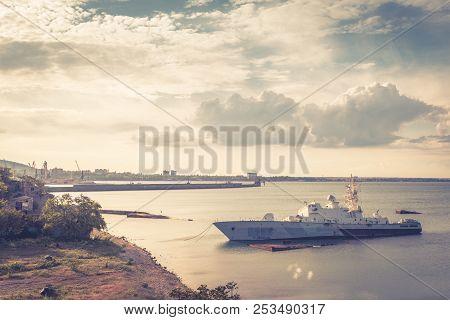 Damaged Ukrainian Military Ship Lies By The Shore In Feodosia, Crimea, Russia. Landscape Of Crimea O