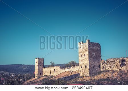 Genoese Fortress, Feodosia, Crimea, Russia. Beautiful Scenic View Of The Fortress Ruins On The Crime