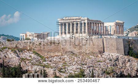 Panorama Of Acropolis With Parthenon, Athens, Greece. Ancient Greek Parthenon Is The Main Landmark O