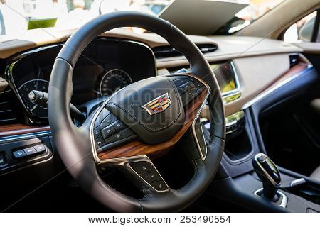 Berlin - June 09, 2018: Interior Of A Compact Luxury Crossover Suv Cadillac Xt5, 2018. Classic Days