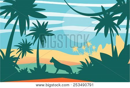 Beautiful Scene Of Nature, Peaceful Jungle Landscape With Tiger At Day Time, Template For Banner, Po