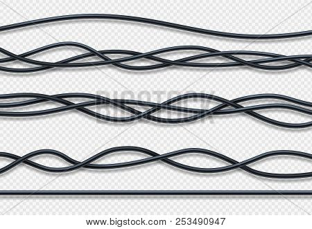 Realistic Electrical Wires, Connection Industrial Cables Vector Set. Wire Connection, Cable Power En