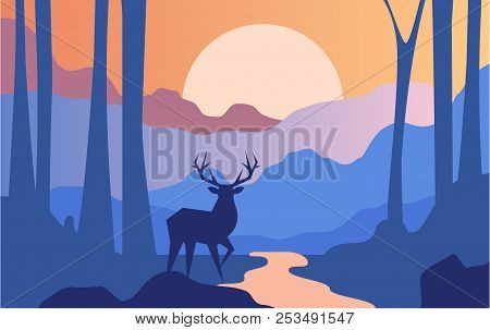Beautiful Scene Of Nature, Peaceful Landscape With Forest And Deer At Evening Time, Template For Ban