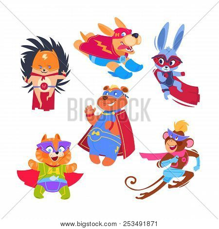 Superhero Animal Kids. Funny Animals Wearing Superheroes Costumes. Cosplay Vector Characters Set. Il