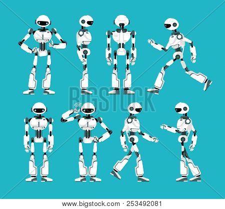 Robot Character. Cartoon Robotic Mechanism, Humanoid Vector Set. Humanoid And Cyborg, Character Robo