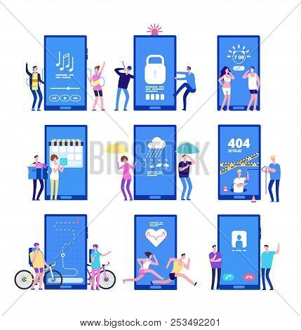 Phone App Concept. Men And Women Standing Near Big Cell Phones With Mobile Apps On Screen. Vector Co