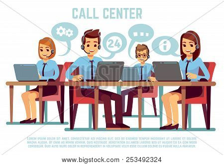 Group Of Operators With Headset Supporting People In Call Center Office. Business Support And Telema
