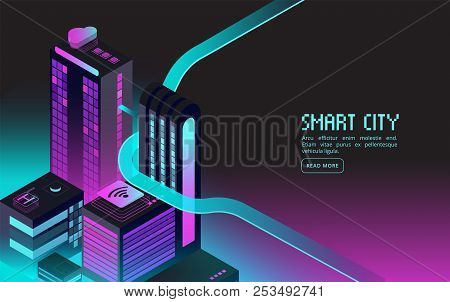 Smart Building. Intelligent Houses In Night City. Augmented Reality 3d Isometric Abstract Futuristic