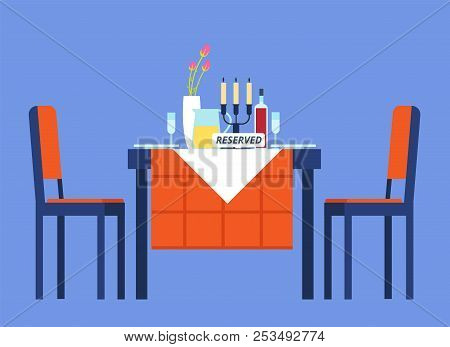 Reserved Table. Restaurant Table With Tablecloth, Wineglasses, Dinnerware Two Chair For Romantic Din