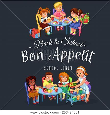 Bon Appetit Colorful Joyous Pupils Having Healthy Lunch In School Dining Room During Break Vector Il