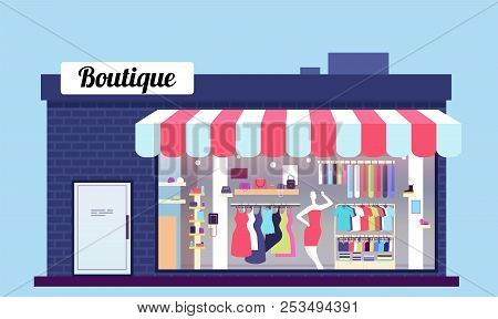 Fashion Store Exterior. Beauty Shop Boutique Exterior With Storefront And Clothes. Vector Illustrati