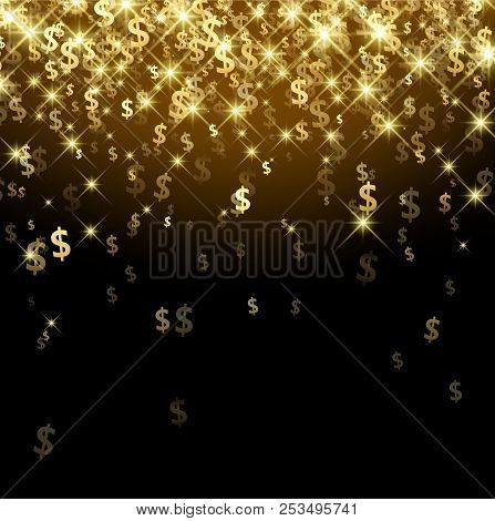 Black Luminous Background With Golden Dollar Signs. Vector Paper Illustration.
