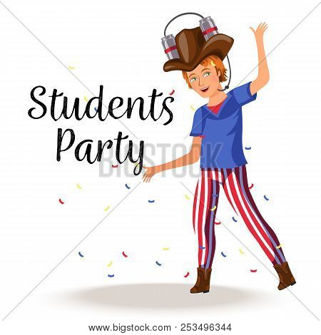Students Party Colorful Poster Cheerful Boy Having Fun And Dancing In Stylish Costume With Amusing B