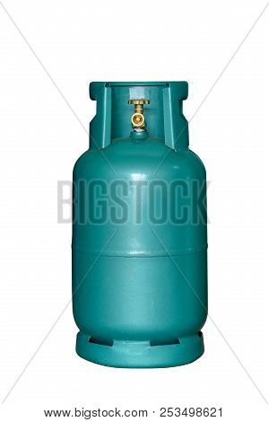 Lpg Cooking Gas Tank Isolated On White Background With Clipping Path