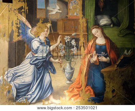 PARIS, FRANCE - JANUARY 09: Annunciation of the Virgin Mary, altarpiece in the Saint Germain l'Auxerrois church in Paris, France on January 09, 2018.