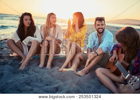 Party on beach- Group of young friends enjoyment together at the beach