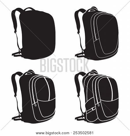 Process Of Drawing A Backpack. Vector Illustration. Backpack Isolated Icon.