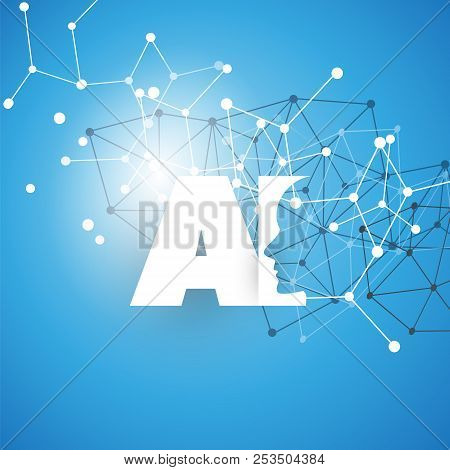 Machine Learning, Artificial Intelligence, Cloud Computing And Networks Design Concept With Geometri