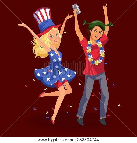 Girl And Boy Having Fun At Students Knees-up Cheerful Young Woman Wile Away Time At Party Vector Ill