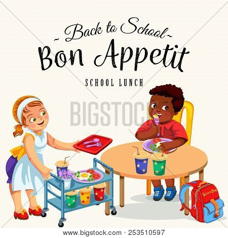 School Dinner Poster Joyous Chef Giving Out Meals On Tray To Pupils In Canteen Vector Illustration
