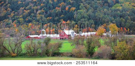 Panoramic view of rural Vermont in autumn time.
