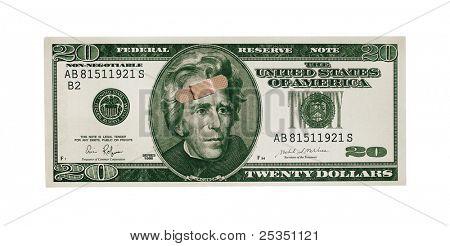 Twenty Dollar Bill With Band Aid