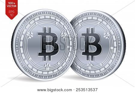 Bitcoin Cash. Crypto Currency. 3d Isometric Physical Coins. Digital Currency. Silver Coins With Bitc