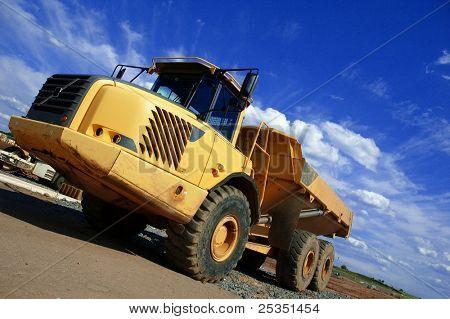 Dump truck on construction site.