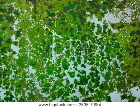 Old Green Colored Craked Wall , A Natural Texture Background