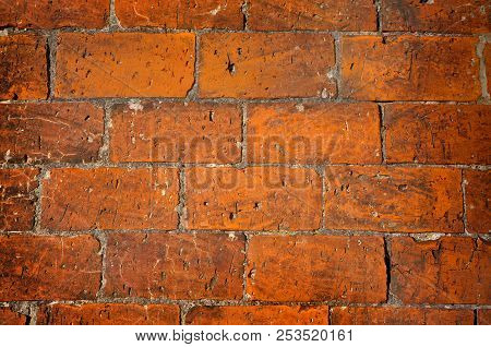 Old Wall Of Red  Bricks, A Natural Texture Background