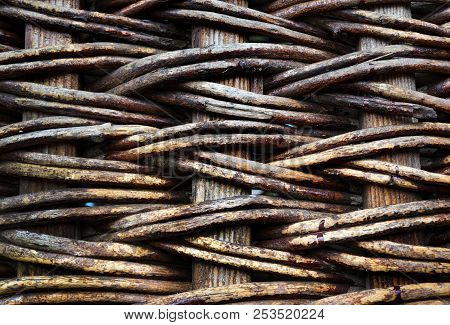Natural Textured Background, Wattled  Basket Close -up