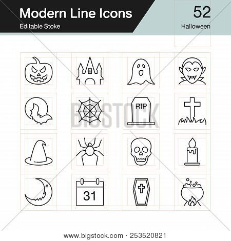 Halloween Icons. Modern Line Design Set 52. For Presentation, Graphic Design, Mobile Application, We