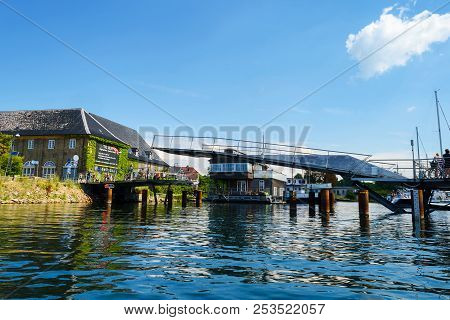 Copenhagen, Denmark - July 13, 2018. A Water Bridge Over The Canal. Architecture. City Landscape. Tr