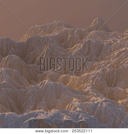 3d Illustration Sandy Mountain Landscape. Mountainous Terrain. Abstract Background Shot From Top Pla