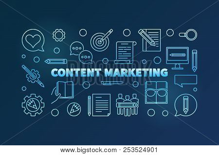 Content Marketing Blue Horizontal Banner Made With Outline Icons. Vector Illustration On Dark Backgr