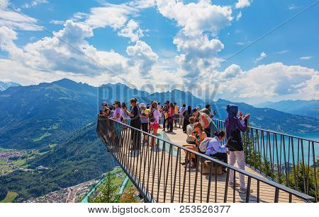 Mt. Harder, Switzerland - August 7, 2018: People On The Observation Platform On The Harderkulm. The
