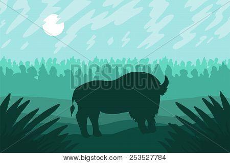 Landscape With Wild Bizon On Field. Prairie Landscape. Green Panorama. Natural Scene. Vector