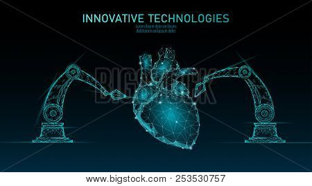 Robotic Heart Surgery Low Poly. Polygonal Cardiology Surgery Procedure. Robot Arm Manipulator. Moder