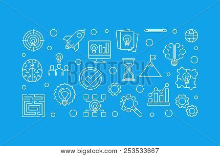 Brainstorm Outline Horizontal Illustration. Vector Brainstorming Concept Banner In Thin Line Style O