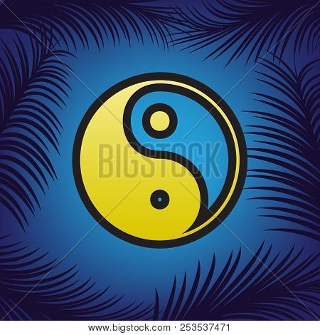 Ying yang symbol of harmony and balance. Vector. Golden icon wit poster