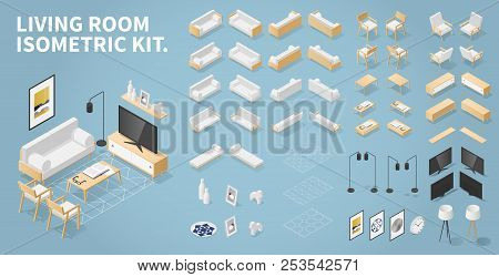 Vector Isometric Set Of Living Room Objects. Kit Contains Couch, Chair, Armchair, Coffee Tables, Tv