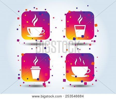 Coffee Cup Icon. Hot Drinks Glasses Symbols. Take Away Or Take-out Tea Beverage Signs. Colour Gradie