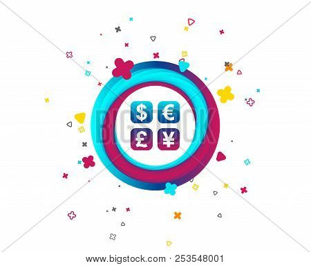Currency Exchange Sign Icon. Currency Converter Symbol. Money Label. Colorful Button With Icon. Geom