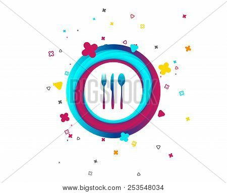 Fork, Knife, Tablespoon Sign Icon. Cutlery Collection Set Symbol. Colorful Button With Icon. Geometr