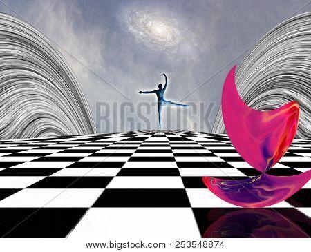 Surreal composition. Pink matter and dancer on chessboard. 3D rendering